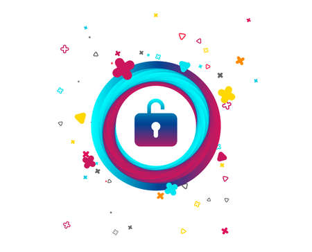 Lock sign icon. Login symbol. Colorful button with icon. Geometric elements. Vector