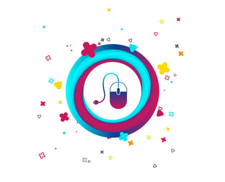 Computer mouse sign icon. Optical with wheel symbol. Colorful button with icon. Geometric elements. Vector