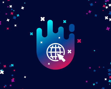 Globe with mouse cursor simple icon. World or Earth sign. Global Internet symbol. Cool banner with icon. Abstract shape with gradient. Vector Banque d'images - 105621153