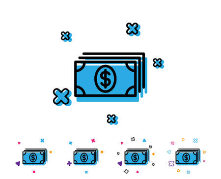 Cash money line icon. Banking currency sign. Dollar or USD symbol. Line icon with geometric elements. Bright colourful design. Vector Illustration