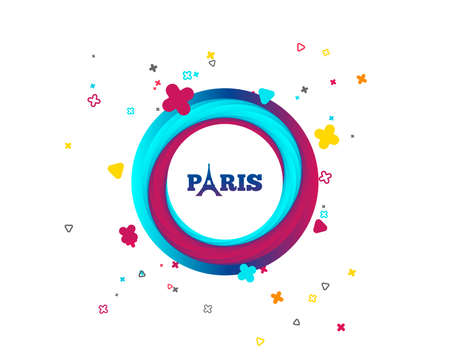 Eiffel tower icon. Paris symbol. Colorful button with icon. Geometric elements. Vector Ilustracja
