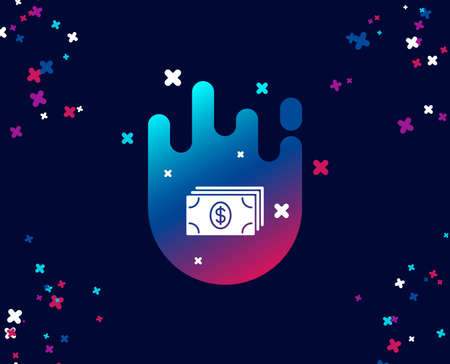 Cash money simple icon. Banking currency sign. Dollar or USD symbol. Cool banner with icon. Abstract shape with gradient. Vector 向量圖像