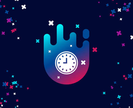 Clock simple icon. Time sign. Office Watch or Timer symbol. Cool banner with icon. Abstract shape with gradient. Vector Illustration