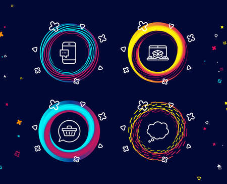 Set of Shopping cart, Smartphone message and Online delivery icons. Comic message sign. Dreaming of gift, Cellphone chat, Parcel tracking website. Speech bubble. Circle banners with line icons