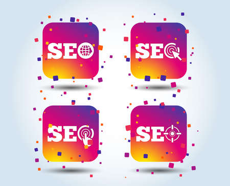 SEO icons. Search Engine Optimization symbols. World globe and mouse or hand cursor pointer signs. Colour gradient square buttons. Flat design concept. Vector