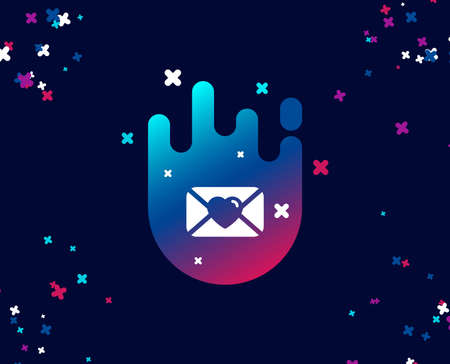 Valentines day mail simple icon. Love letter symbol. Heart sign. Cool banner with icon. Abstract shape with gradient. Vector  イラスト・ベクター素材
