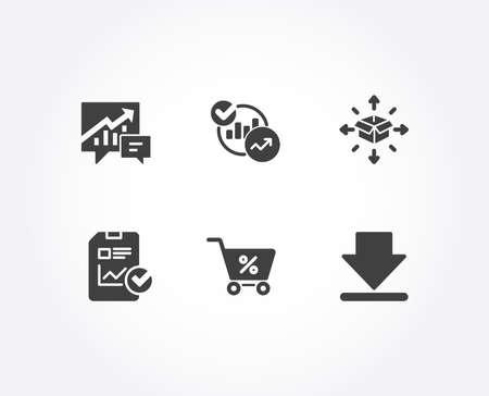 Conjunto de iconos de lista de verificación de entrega de paquetes, estadísticas e informes. Contabilidad, oferta especial y descarga de carteles. Servicio de logística, gráficos de informes, archivo de crecimiento de ventas. Vector