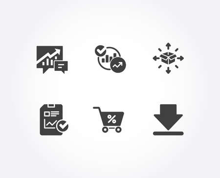 Set of Parcel delivery, Statistics and Report checklist icons. Accounting, Special offer and Downloading signs. Logistics service, Report charts, Sales growth file. Vector