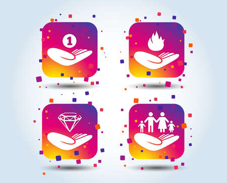 Helping hands icons. Financial money savings, family life insurance symbols. Diamond brilliant sign. Fire protection. Colour gradient square buttons. Flat design concept. Vector Illustration