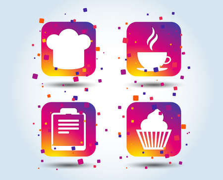 Coffee cup icon. Chef hat symbol. Muffin cupcake signs. Document file. Colour gradient square buttons. Flat design concept. Vector Vectores
