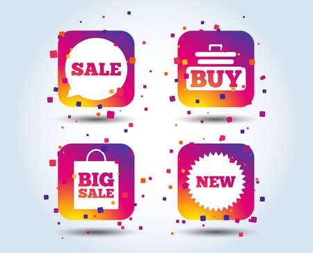 Sale speech bubble icon. Buy cart symbol. New star circle sign. Big sale shopping bag. Colour gradient square buttons. Flat design concept. Vector