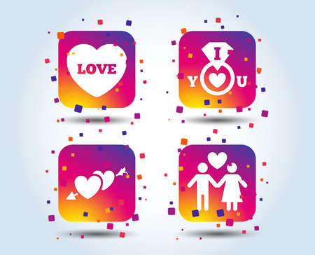 Valentine day love icons. I love you ring symbol. Couple lovers sign. Colour gradient square buttons. Flat design concept. Vector