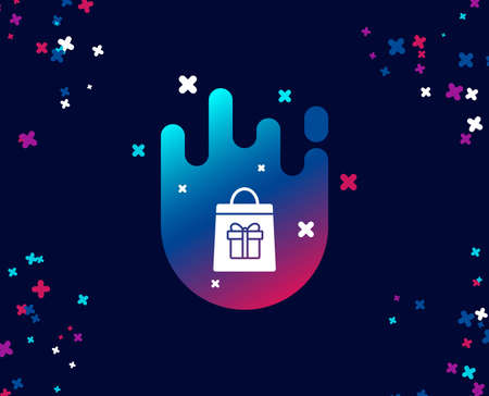 Shopping bag with Gift box simple icon. Present or Sale sign. Birthday Shopping symbol. Package in Gift Wrap. Cool banner with icon. Abstract shape with gradient. Vector