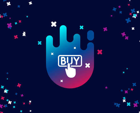 Click to Buy simple icon. Online Shopping sign. E-commerce processing symbol. Cool banner with icon. Abstract shape with gradient. Vector