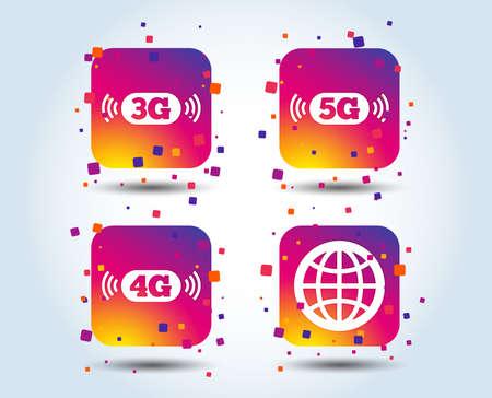 Icone di telecomunicazioni mobili. Simboli della tecnologia 3G, 4G e 5G. Segno del globo del mondo. Pulsanti quadrati sfumati di colore. Concetto di design piatto. Vettore