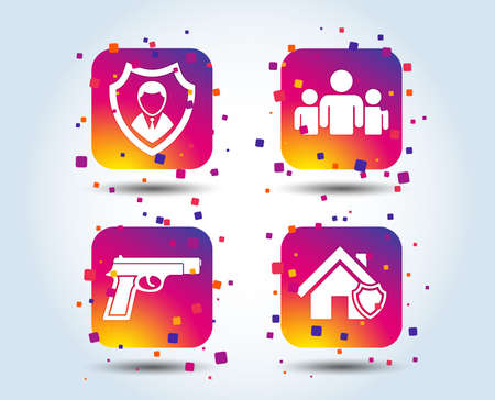 Security agency icons. Home shield protection symbols. Gun weapon sign. Group of people or Share. Colour gradient square buttons. Flat design concept. Vector