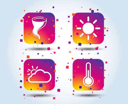 Weather icons. Cloud and sun signs. Storm symbol. Thermometer temperature sign. Colour gradient square buttons. Flat design concept. Vector Illustration