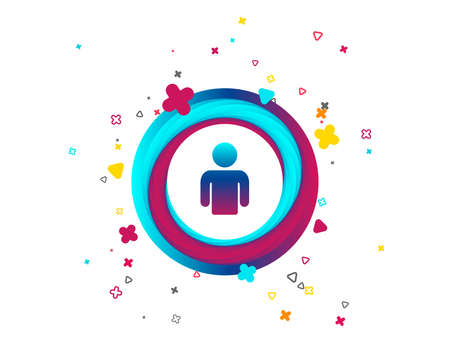 User sign icon. Person symbol. Human avatar. Colorful button with icon. Geometric elements. Vector Vetores