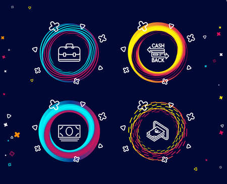 Set of Cash money, Portfolio and Cashback card icons. Cash sign. Banking currency, Business case, Money payment. Atm payment.  Circle banners with line icons. Gradient colors shapes. Vector