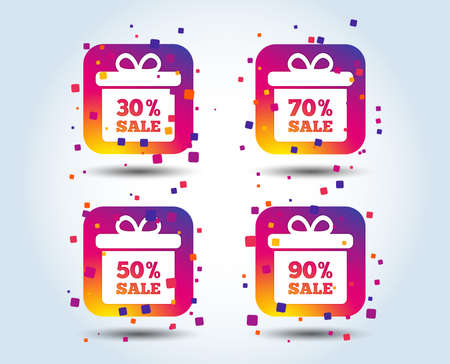 Sale gift box tag icons. Discount special offer symbols. 30%, 50%, 70% and 90% percent sale signs. Colour gradient square buttons. Flat design concept. Vector