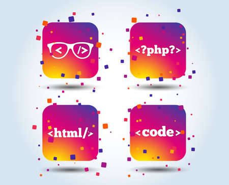 Programmer coder glasses icon. HTML markup language and PHP programming language sign symbols. Colour gradient square buttons. Flat design concept. Vector Illustration