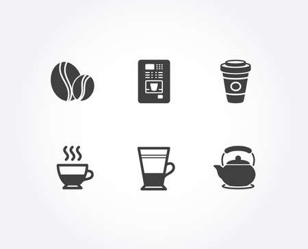 Set of Coffee beans, Takeaway coffee and Doppio icons. Double latte, Teapot signs. Whole bean, Hot latte drink, Tea cup. Tea kettle.  Quality design elements. Classic style. Vector