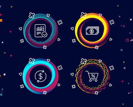 Set of Banking, Usd exchange and Checked calculation icons. Special offer sign. Money payment, Currency rate, Statistical data. Discounts.  Circle banners with line icons. Gradient colors shapes