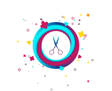 Scissors hairdresser sign icon. Tailor symbol. Colorful button with icon. Geometric elements. Vector