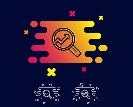 Chart line icon. Report graph or Sales growth sign in Magnifying glass. Analysis and Statistics data symbol. Gradient banner with line icon. Abstract shape. Vector