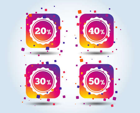 Sale discount icons. Special offer stamp price signs. 20, 30, 40 and 50 percent off reduction symbols. Colour gradient square buttons. Flat design concept. Vector Illustration