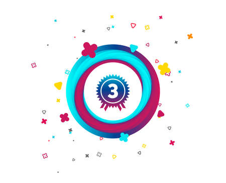 Third place award sign icon. Prize for winner symbol. Colorful button with icon. Geometric elements. Vector