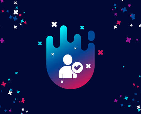 Checked User simple icon. Profile Avatar with Tick sign. Person silhouette symbol. Cool banner with icon. Abstract shape with gradient. Vector