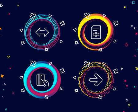 Set of View document, Payment card and Sync icons. Next sign. Open file, Credit card, Synchronize. Forward.  Circle banners with line icons. Gradient colors shapes. Vector