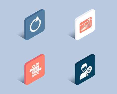 Set of Website statistics, Synchronize and Cashback card icons. Person idea sign. Data analysis, Refresh or update, Money payment. Lamp energy.  3d isometric buttons. Flat design concept. Vector Vettoriali