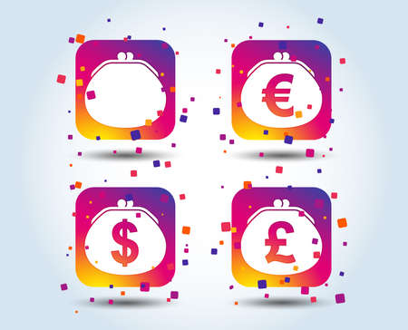Wallet with Dollar, Euro and Pounds currency icons. Cash bag signs. Retro wealth symbol. Colour gradient square buttons. Flat design concept. Vector