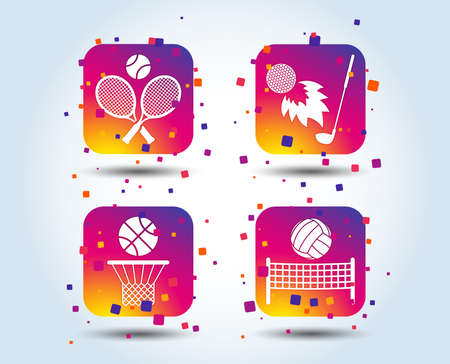 Tennis rackets with ball. Basketball basket. Volleyball net with ball. Golf fireball sign. Sport icons. Colour gradient square buttons. Flat design concept. Vector Illustration