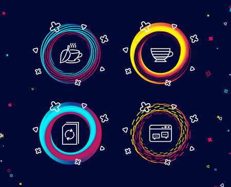 Set of Cappuccino, Mint tea and Update document icons. Browser window sign. Coffee cup, Mentha beverage, Refresh file. Website chat. Circle banners with line icons. Gradient colors shapes. Vector Vector Illustratie