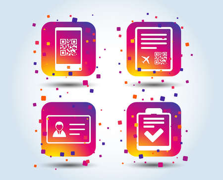 QR scan code in smartphone icon. Boarding pass flight sign. ID card badge symbol. Check or tick sign. Colour gradient square buttons. Flat design concept. Vector
