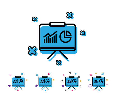 Presentation board line icon. Report chart or Sales growth sign. Analysis and Statistics data symbol. Line icon with geometric elements. Bright colourful design. Vector