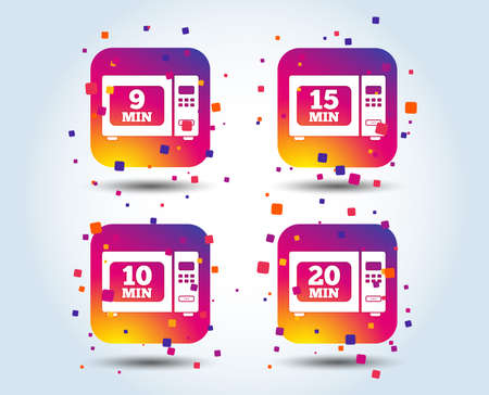 Microwave oven icons. Cook in electric stove symbols. Heat 9, 10, 15 and 20 minutes signs. Colour gradient square buttons. Flat design concept. Vector