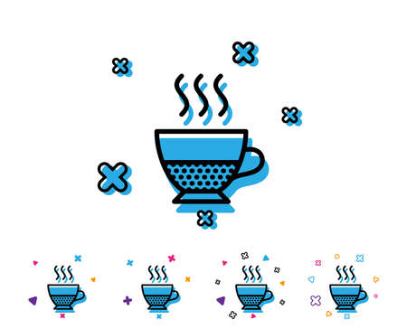 Doppio coffee icon. Hot drink sign. Beverage symbol. Line icon with geometric elements. Bright colourful design. Vector
