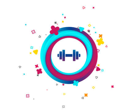 Dumbbell sign icon. Fitness symbol. Colorful button with icon. Geometric elements. Vector