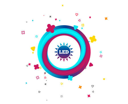 Led light sun icon. Energy symbol. Colorful button with icon. Geometric elements. Vector Illustration