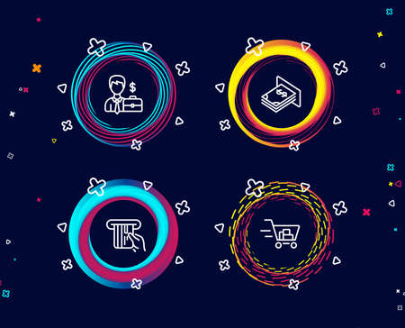 Set of Businessman case, Credit card and Atm money icons. Shopping cart sign. Human resources, Atm payment, Dollar currency. Online buying.  Circle banners with line icons. Gradient colors shapes