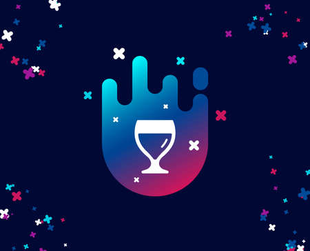 Wine glass simple icon. Alcohol drink sign. Beverage symbol. Cool banner with icon. Abstract shape with gradient. Vector