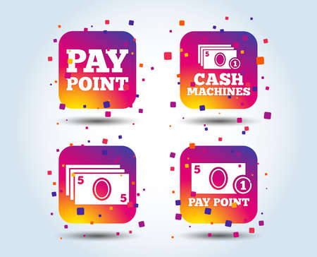 Cash and coin icons. Cash machines or ATM signs. Pay point or Withdrawal symbols. Colour gradient square buttons. Flat design concept. Vector Illustration