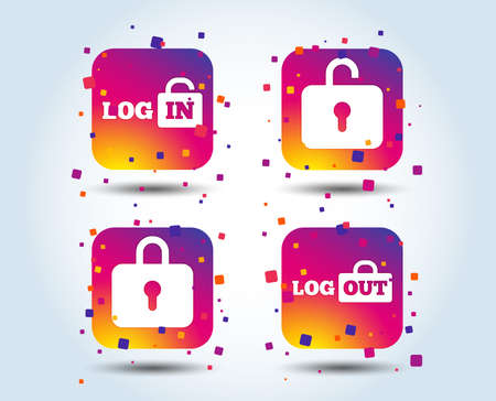 Login and Logout icons. Sign in or Sign out symbols. Lock icon. Colour gradient square buttons. Flat design concept. Vector