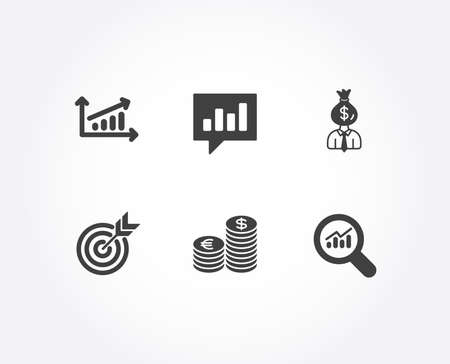 Set of Chart, Target and Currency icons. Manager, Analytical chat and Data analysis signs. Presentation chart, Targeting, Euro and usd. Work profit, Communication speech bubble, Magnifying glass