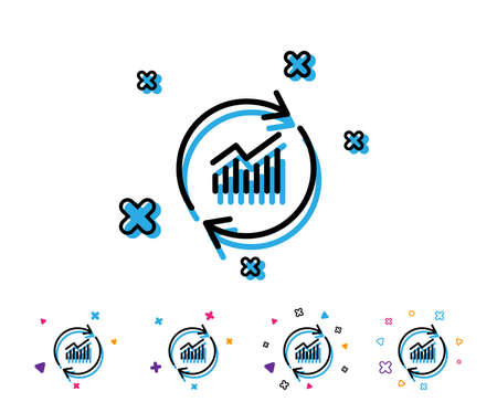 Chart line icon. Update Report graph or Sales growth sign. Analysis and Statistics data symbol. Line icon with geometric elements. Bright colourful design. Vector Çizim