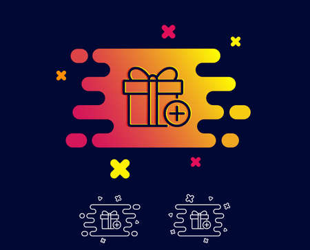 Add Gift box line icon. Present or Sale sign. Birthday Shopping symbol. Package in Gift Wrap. Gradient banner with line icon. Abstract shape. Vector 向量圖像